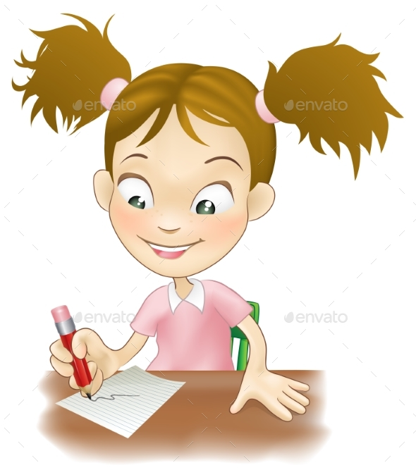 Young Girl Writing at Her Desk - Miscellaneous Vectors