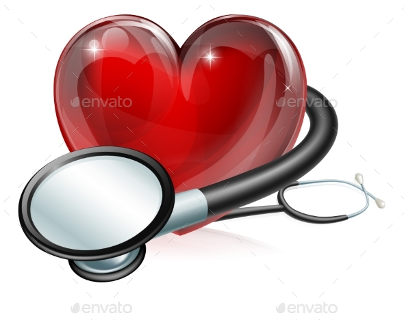 Heart Symbol and Stethoscope - Health/Medicine Conceptual