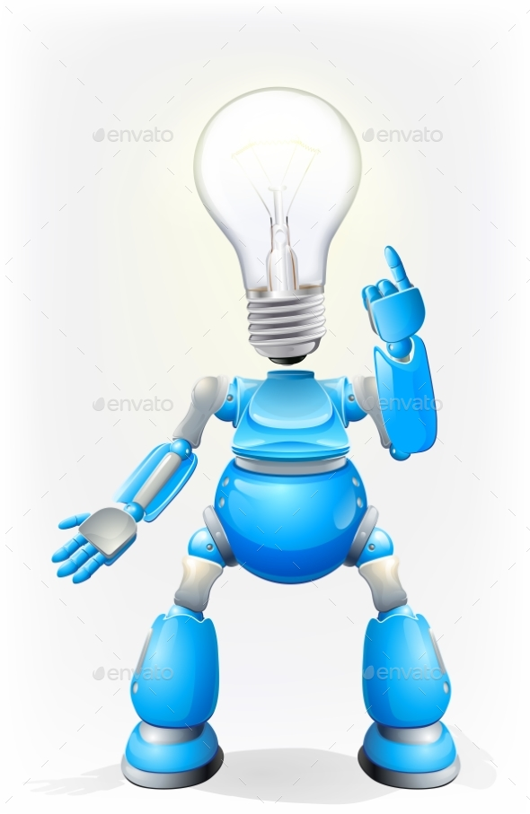 Blue Robot Light Bulb Head - Miscellaneous Vectors