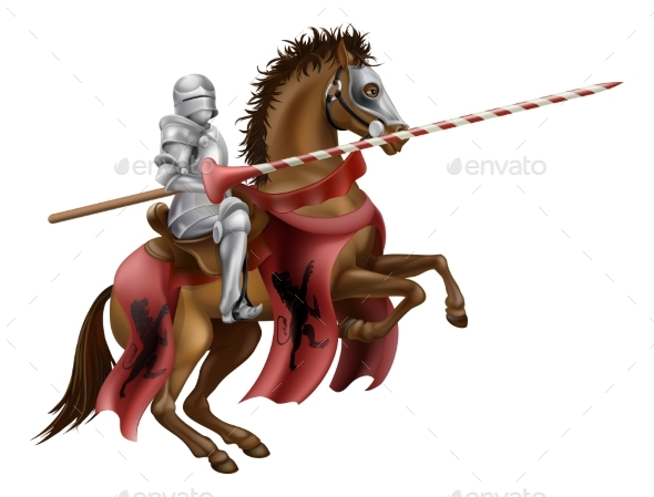 Knight with Lance on Horse - Miscellaneous Vectors