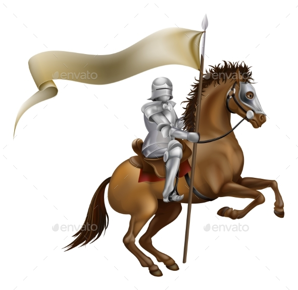 Knight with Spear and Banner - Miscellaneous Vectors