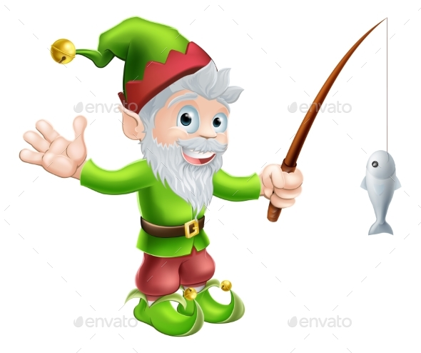 Garden Gnome with Fishing Rod - People Characters