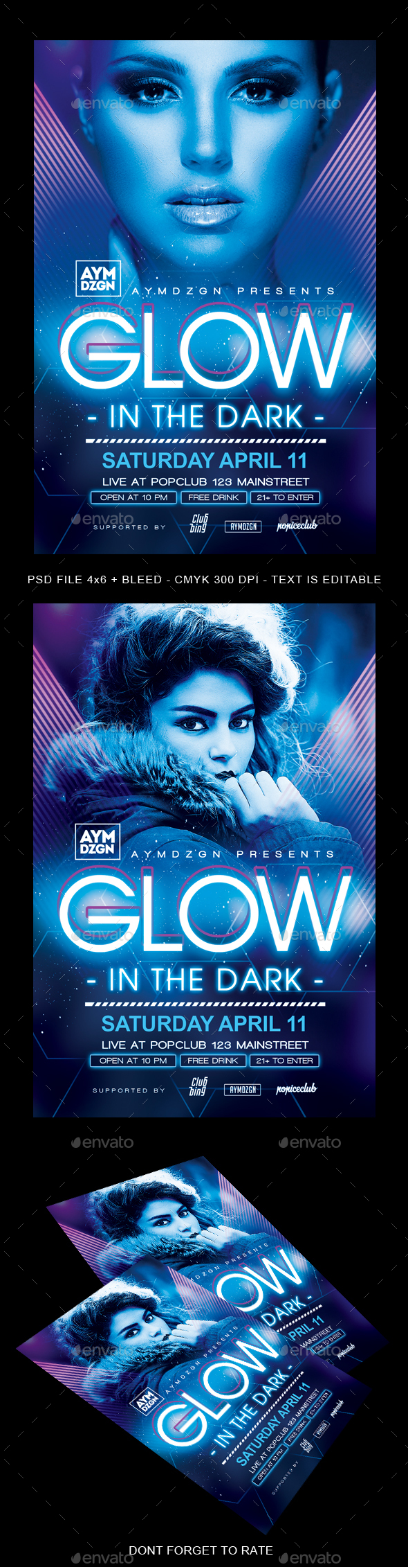 Glow In The Dark Flyer - Clubs & Parties Events