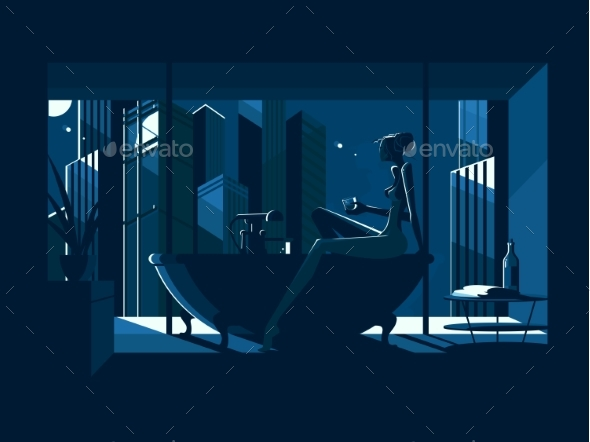 Silhouette of Naked Girl in Bath - Miscellaneous Vectors