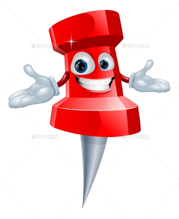 Push Pin Office Supply Mascot - Miscellaneous Vectors