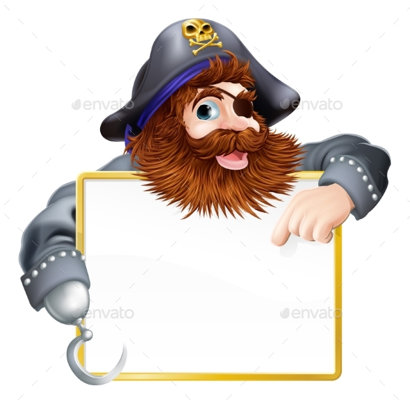 Pirate Pointing at Sign - People Characters