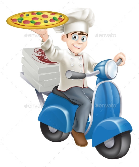 Pizza Chef Moped Delivery - Food Objects