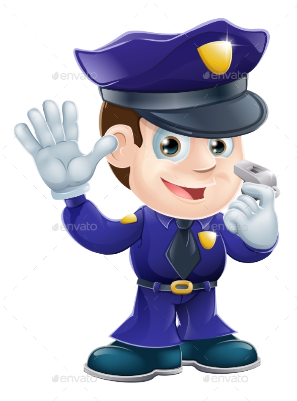 Policeman Character Cartoon Illustration - People Characters