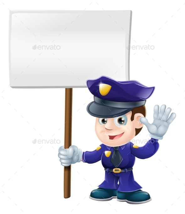 Police Man with Sign Illustration - Miscellaneous Vectors