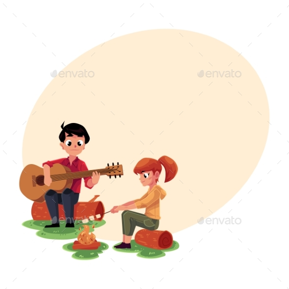 Camping Kids - Playing Guitar and Frying - People Characters