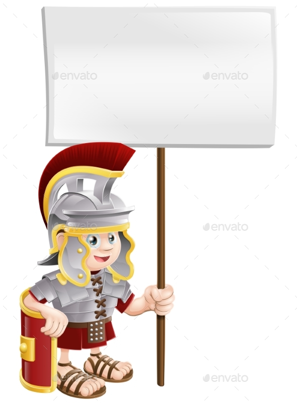 Roman Soldier Holding Sign Board - People Characters