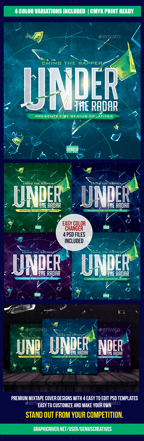 Under The Radar Mixtape - CD & DVD Artwork Print Templates