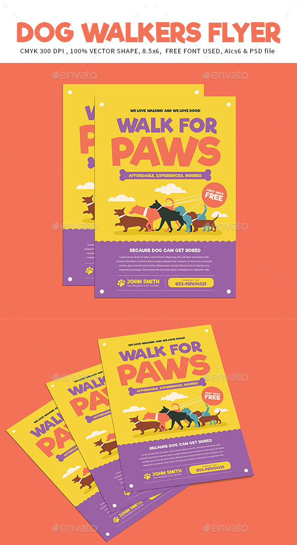 Dog Walkers Flyer - Corporate Flyers