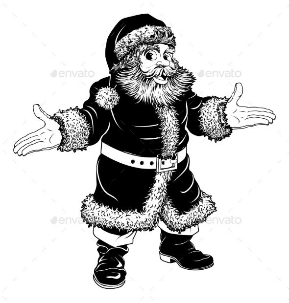 Black and White Christmas Santa Claus - Christmas Seasons/Holidays