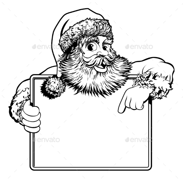 Christmas Santa Claus Sign - People Characters