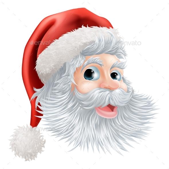 Happy Christmas Santa Face - Christmas Seasons/Holidays