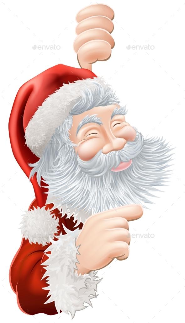 Christmas Santa Claus Pointing - Christmas Seasons/Holidays
