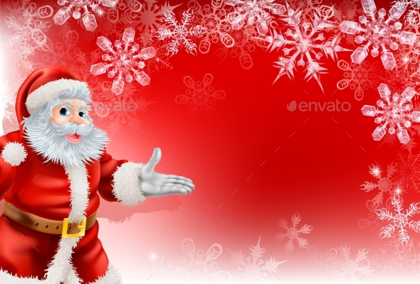 Red Santa Christmas Snowflake Background - Christmas Seasons/Holidays