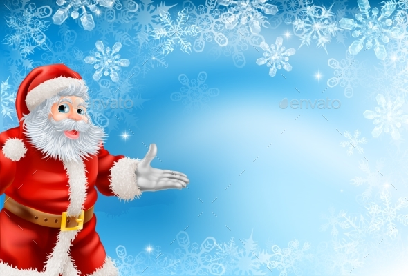 Blue Snowflakes and Santa Background - Christmas Seasons/Holidays