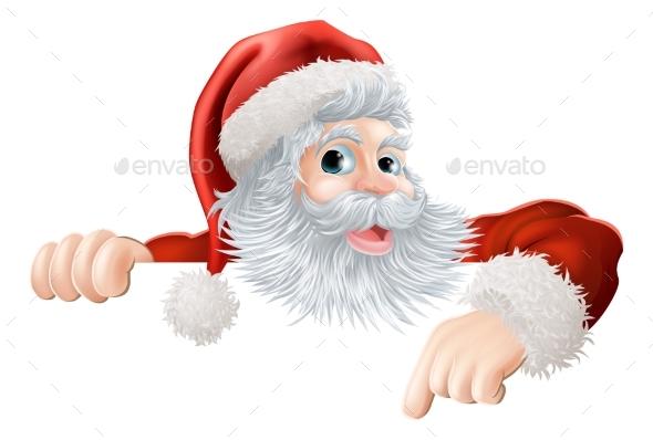 Christmas Santa Pointing Down at Sign - Christmas Seasons/Holidays