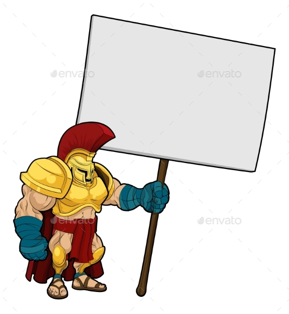 Tough Spartan or Trojan Holding Sign Board - Miscellaneous Characters