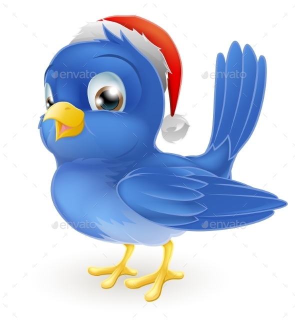 Blue Bird in Santa Claus Hat - Miscellaneous Vectors