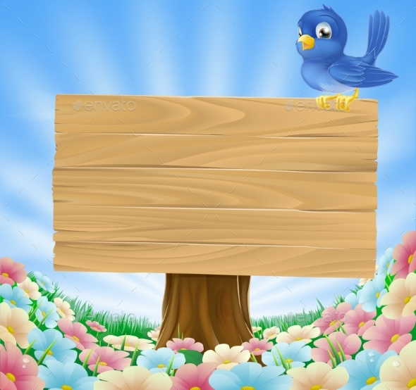 Bluebird Sitting on Wood Sign with Flowers - Animals Characters