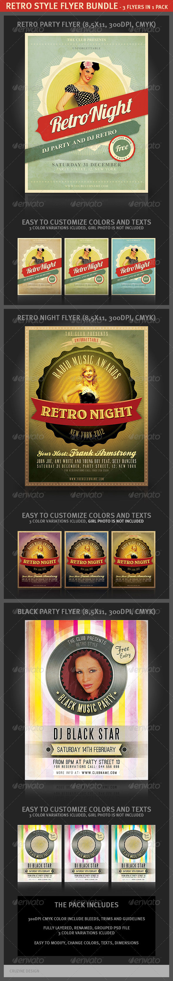 Retro Style Flyer Bundle - Clubs & Parties Events