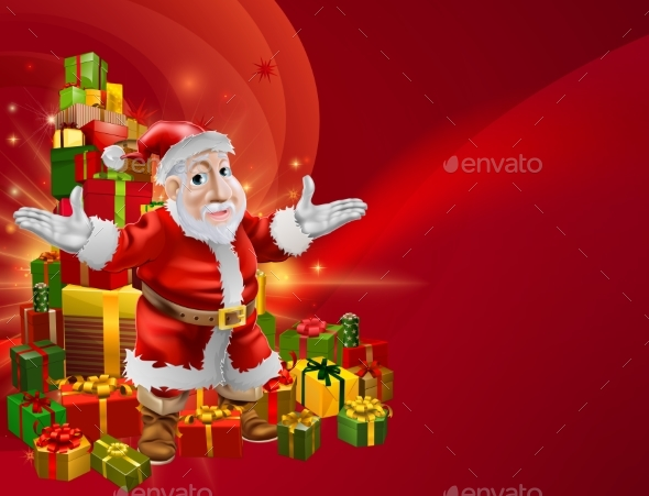 Red Cartoon Santa Background - Seasons/Holidays Conceptual