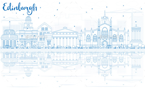 Outline Edinburgh Skyline with Blue Buildings and Reflections. - Buildings Objects