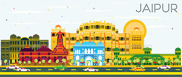 Jaipur Skyline with Color Buildings and Blue Sky. - Buildings Objects