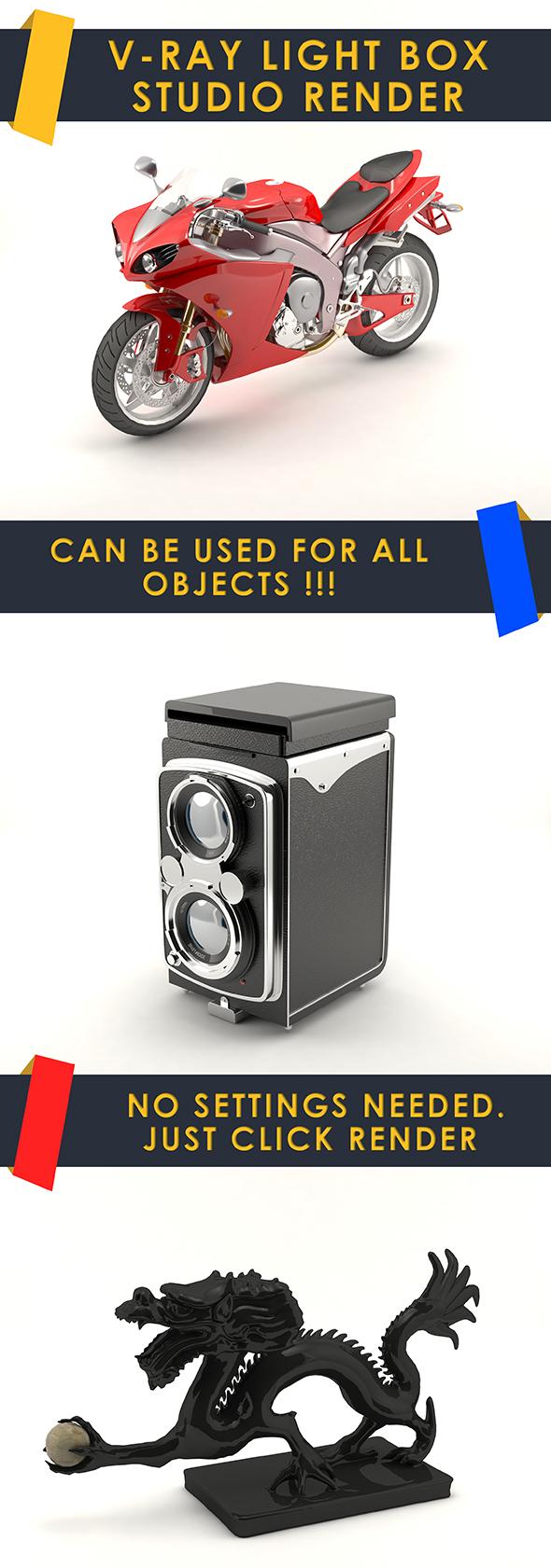 Vray light box studio render scene - 3DOcean Item for Sale