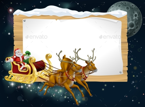 Santa Christmas Sleigh Background - Seasons/Holidays Conceptual