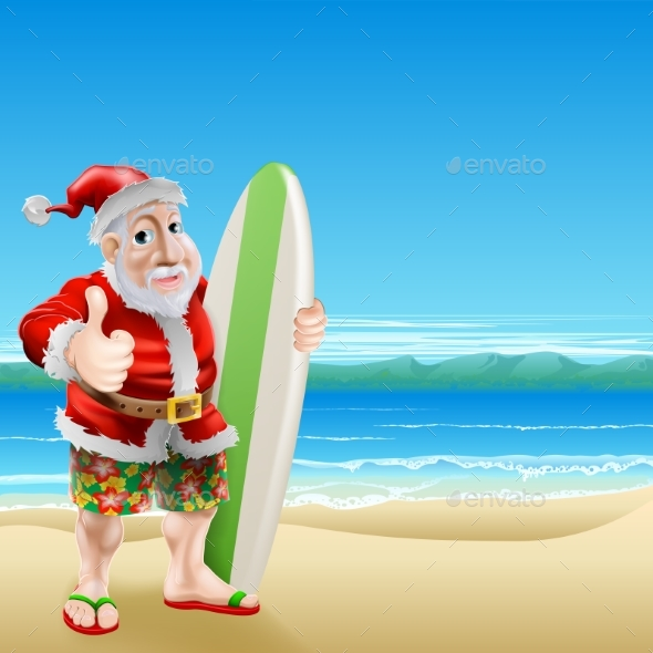 Santa on the Beach - Seasons/Holidays Conceptual