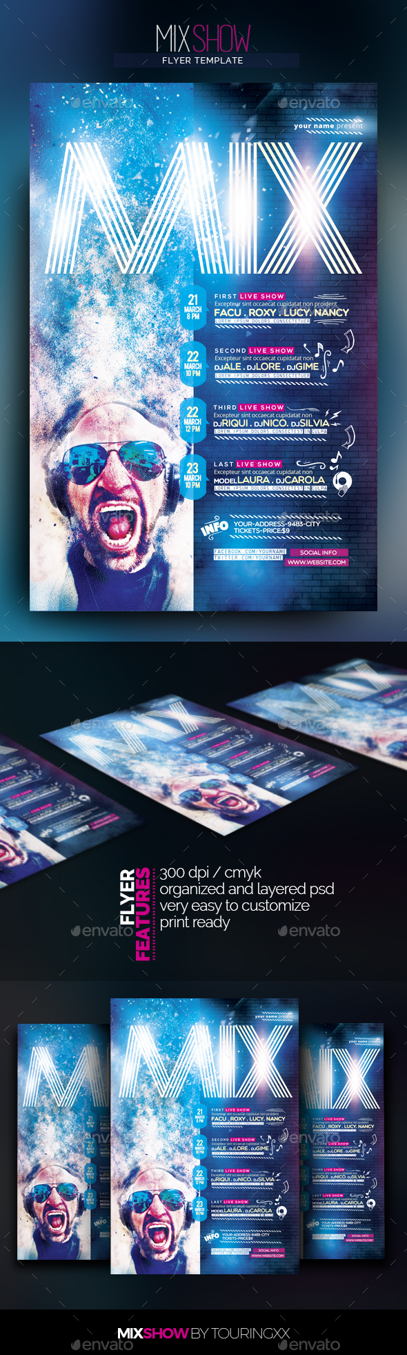 Mix Show Flyer Template - Flyers Print Templates