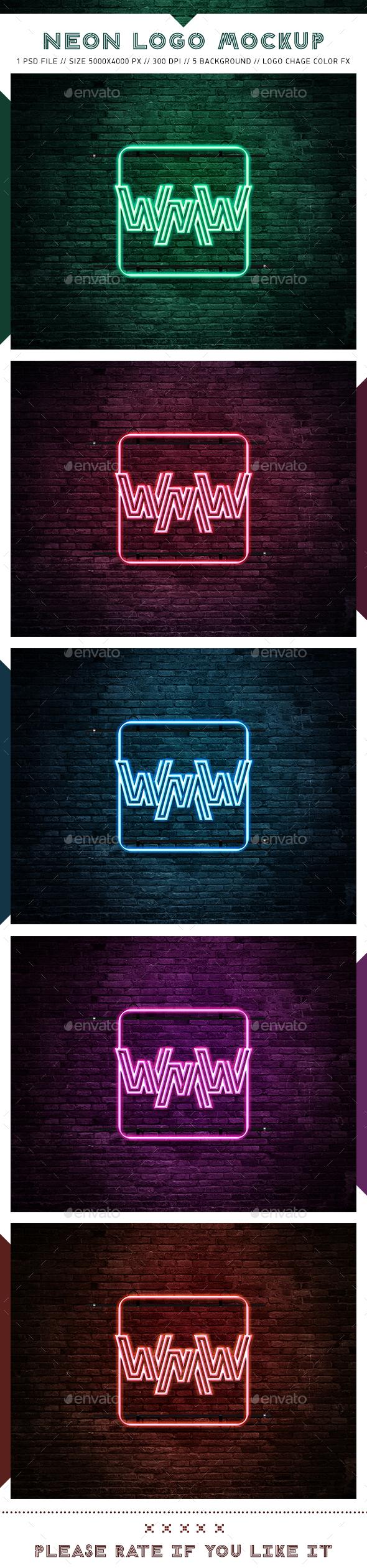 Neon Logo Mockups - Logo Product Mock-Ups