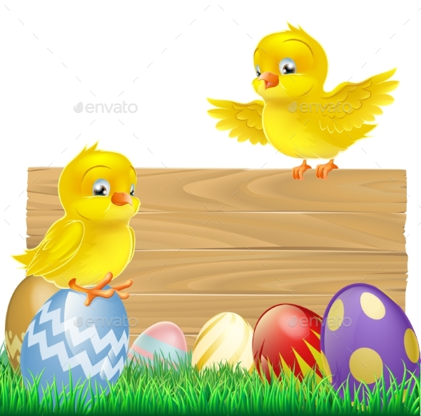 Isolated Easter Sign with Eggs and Chicks - Animals Characters