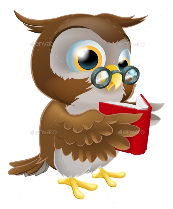 Cartoon Owl Reading a Book - Animals Characters