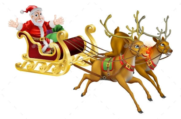 Santa Christmas Sled - Christmas Seasons/Holidays