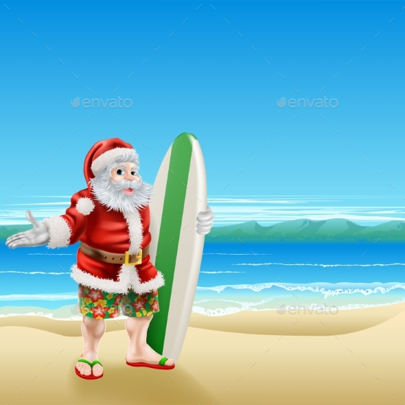 Surf Santa on the Beach - Miscellaneous Vectors