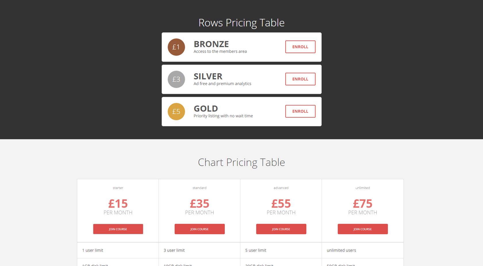 7 responsive flat bootstrap pricing tables now with color for Bootstrap table row color
