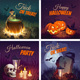 Halloween Banners with the Characters on the Background. Night Autumn Landscape - GraphicRiver Item for Sale