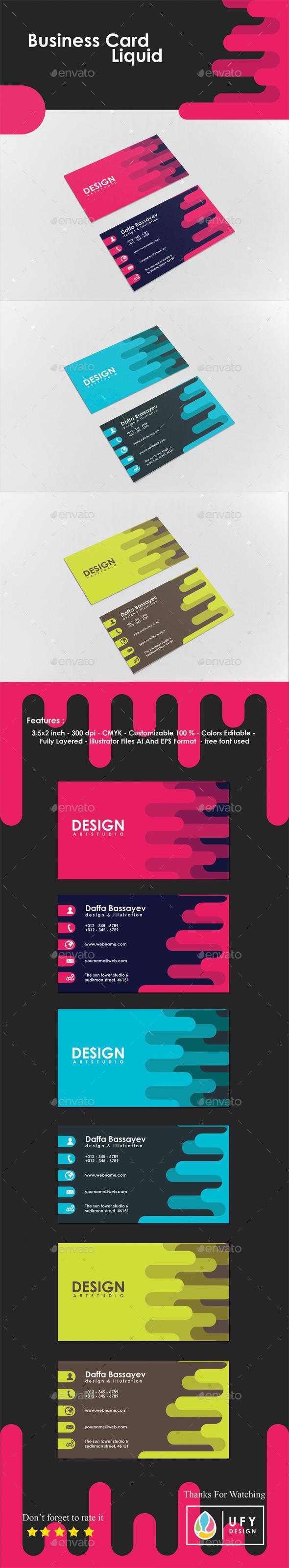 Business Card - Liquid - Business Cards Print Templates