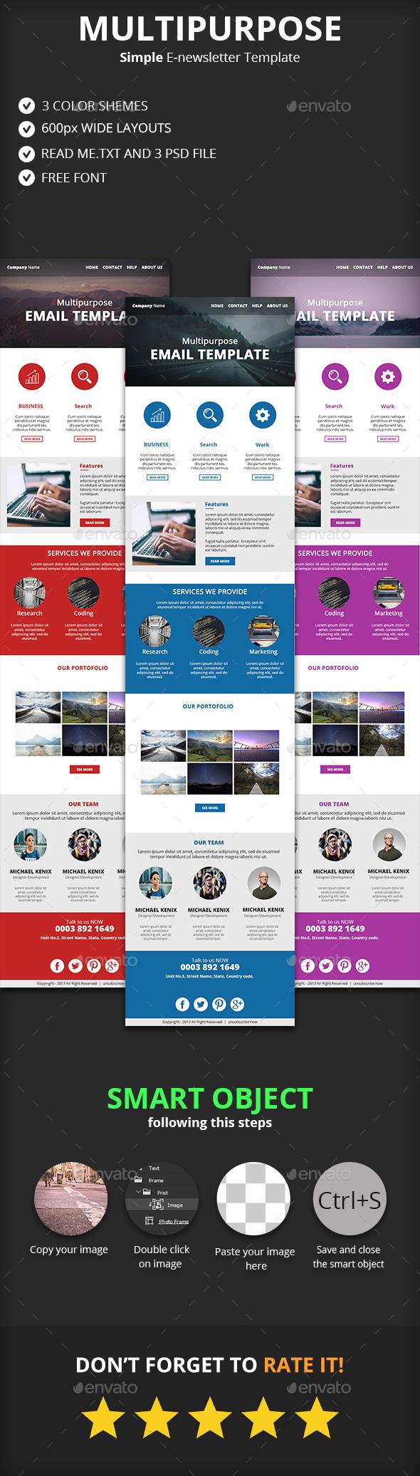 Simple Multipurpose E-newsletter Template - E-newsletters Web Elements