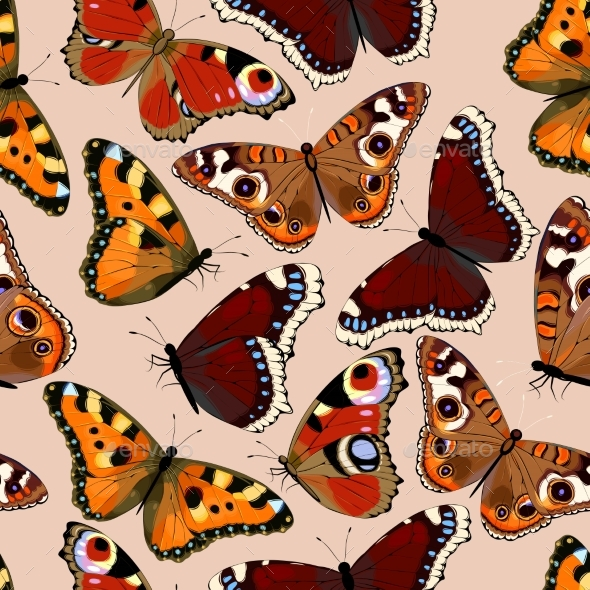 Varicolored Butterflies Seamless - Backgrounds Decorative
