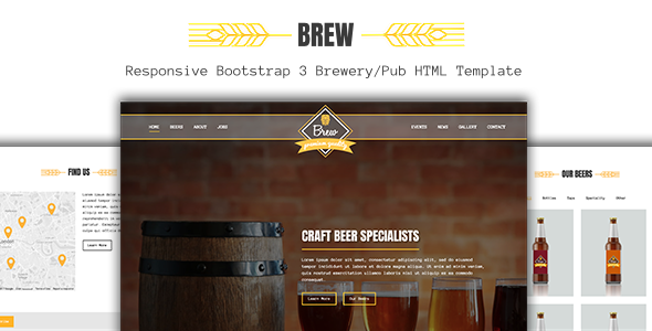 Brew - Craft Beer Brewery / Pub HTML5 Template - Entertainment Site Templates