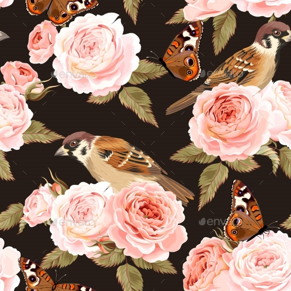 Seamless Roses and Birds - Backgrounds Decorative