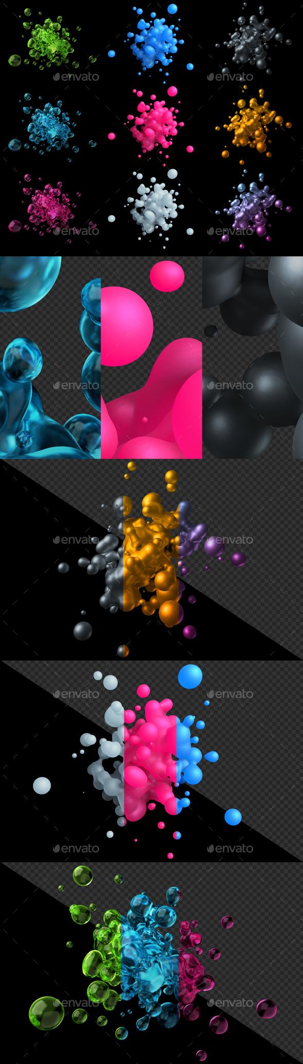 3D Renders of Liquid Splashes - Abstract 3D Renders