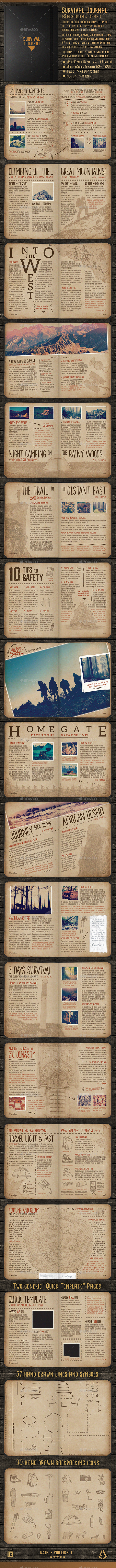 Survival Journal Template - A5 InDesign Outdoor Diary - Magazines Print Templates