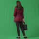 Pretty Young Woman in Red Cloak standing. Back View. Green Screen - VideoHive Item for Sale